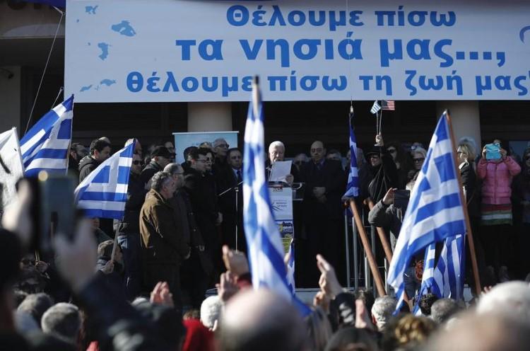 Προσφυγικό Στο Μαξίμου Δήμαρχοι και Περιφερειάρχης Βορείου Αιγαίου Σύνθημα