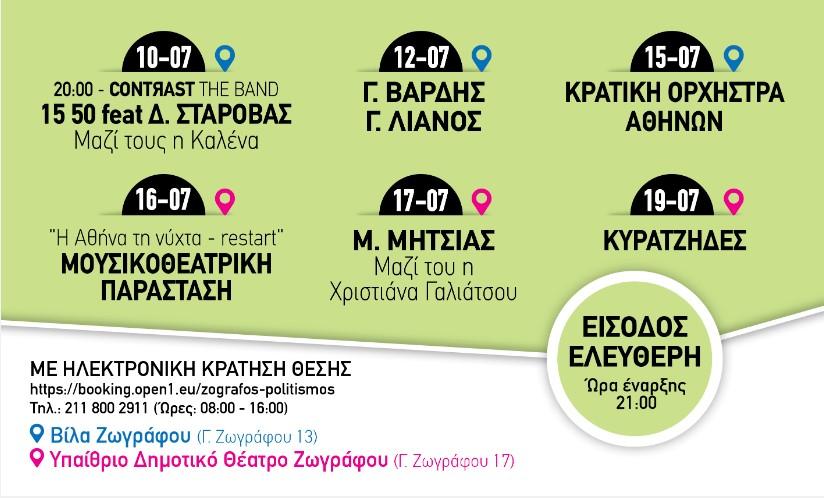 ΖΩΓΡΑΦΟΥ SUMMER FESTIVAL Ιούλιος 2020 Πρόγραμμα