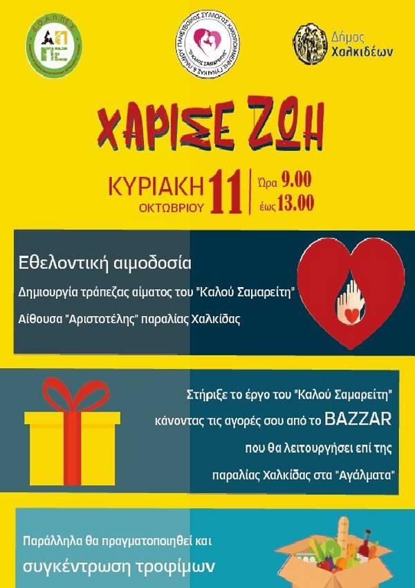 Χάρισε Ζωή Εθελοντική αιμοδοσία στο Δήμο Χαλκιδέων και Bazaar Αφίσα Δράσεων
