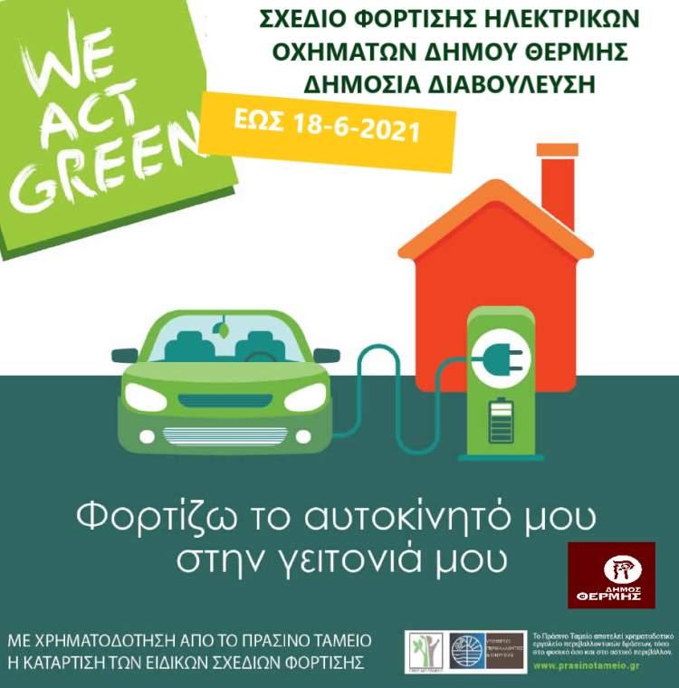 Ηλεκτρονική διαβούλευση για Σταθμούς Φόρτισης Ηλεκτρικών Οχημάτων από τον Δήμο Θέρμης Αφίσα
