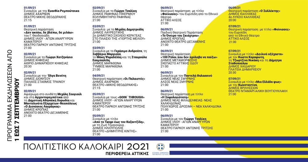 Σεπτέμβριος του θεάτρου και της μουσικής από την Περιφέρεια Αττικής - Πολιτιστικές 1-7 Σεπτεμβρίου